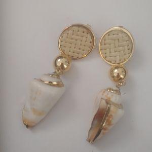 Ettika 18K Gold Plated Shell Earrings - NWOT